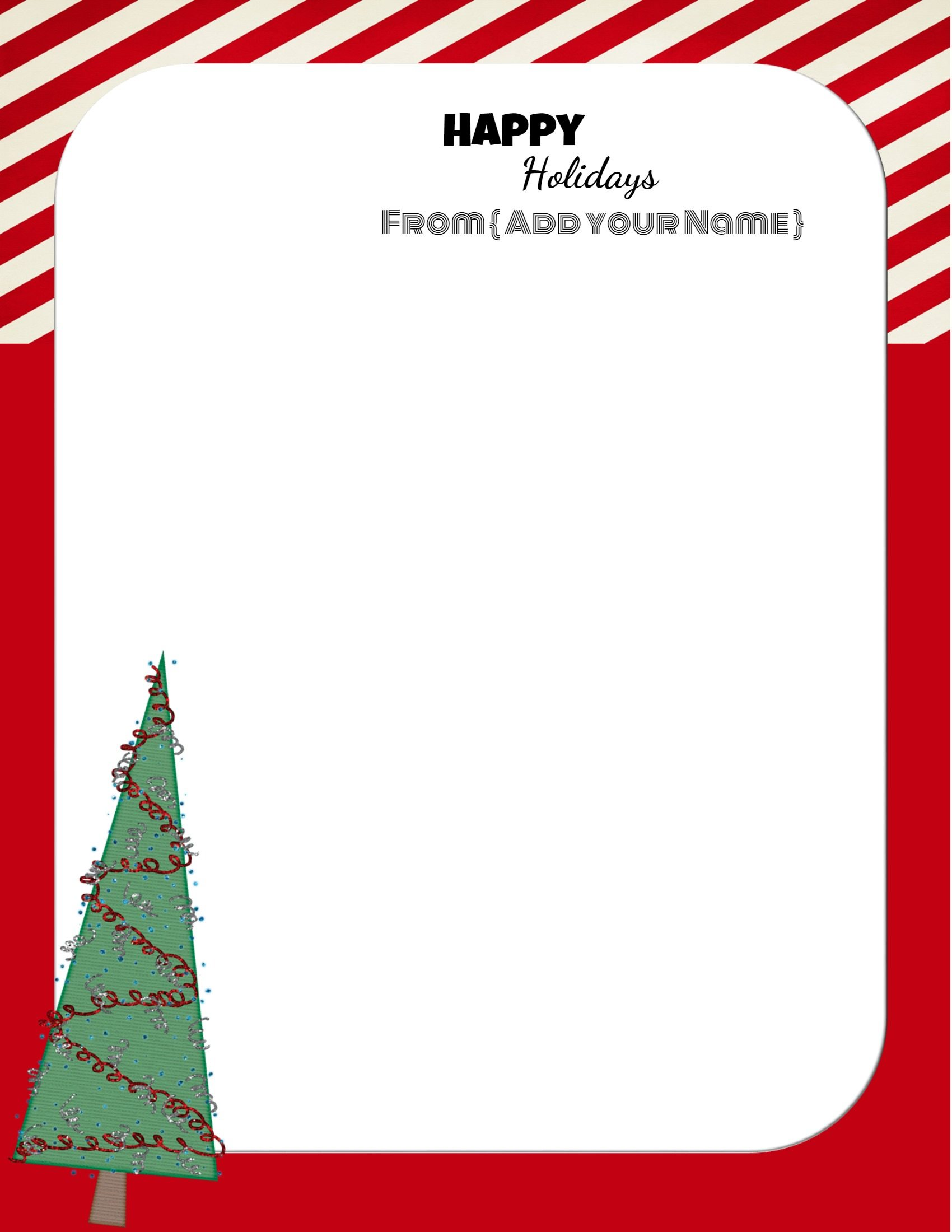 Red and white Christmas stationery with a picture of a Christmas tree