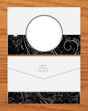 black and white template to make an envelope