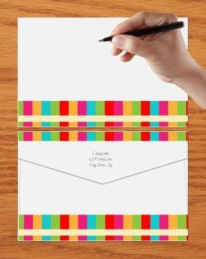 colored template to make an envelope