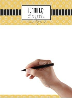 stationery template in yellow and black with can be customized online for free