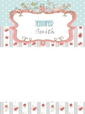 floral stationery with vintage pattern in pastel colors