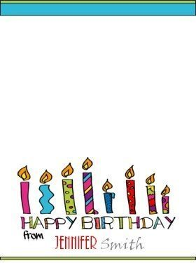 """Personalized birthday note card with a picture of colored candles that reads """"Happy Birthday"""""""