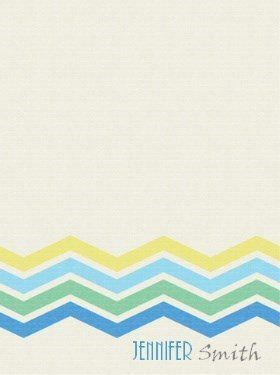 personalized stationary template with chevron pattern in blue, green and yellow