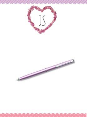 personalized stationary with a heart made of petals and a pink and purple ribbon