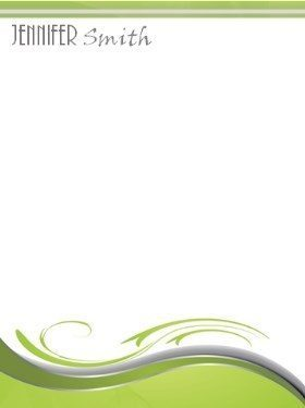 simple abstract stationery with a green wave like pattern