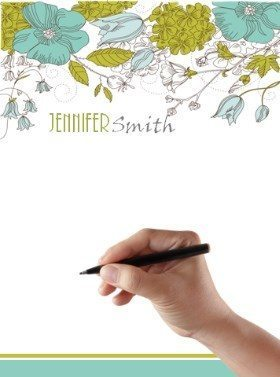 personalized stationery with green and blue flowers