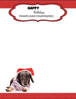 Free personalized stationery with a cute picture of a dog wearing a Santa hat