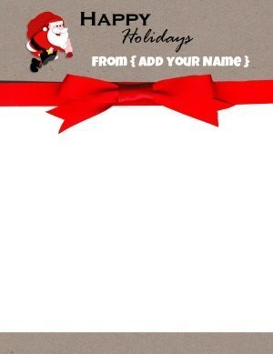 Free Christmas stationery with a picture of Santa