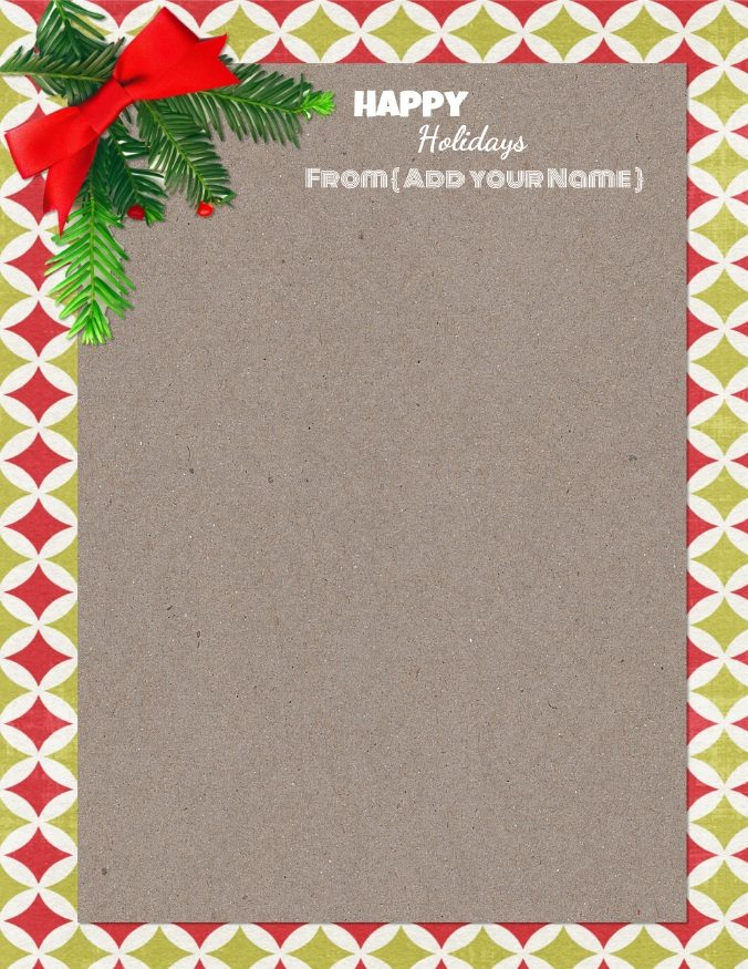 free christmas stationery paper that can be personalized