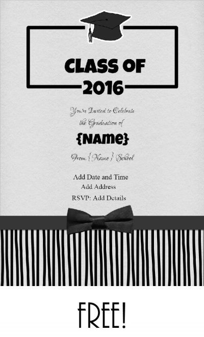 Graduation party invitation with black bowtie