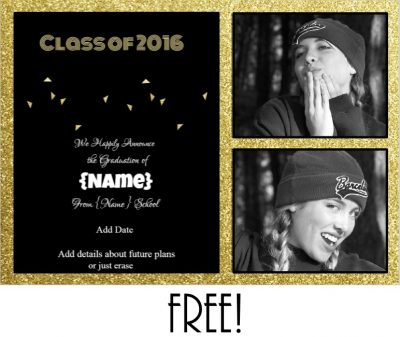 graduation announcement with a black background and gold glitter