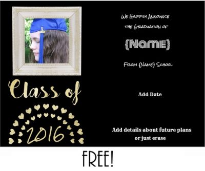 free graduation announcement with black background and gold hearts