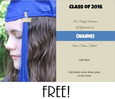 Free custom graduation announcement with space for a custom photo