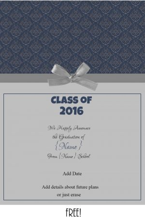 Free printable graduation announcement with blue patterned background