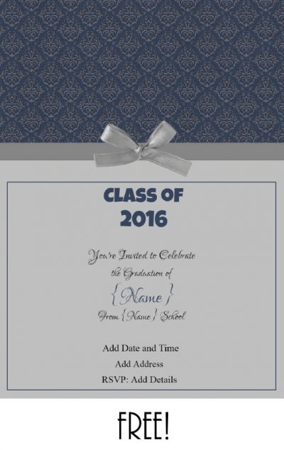 Blue and silver invitation template