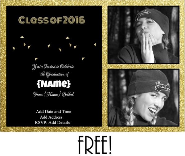 graduation party invite with gold glitter and a black background. Text can be edited.