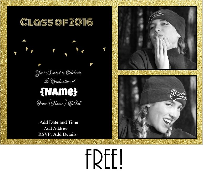 Graduation invitations graduation party invite with gold glitter and a black background text can be edited filmwisefo Choice Image