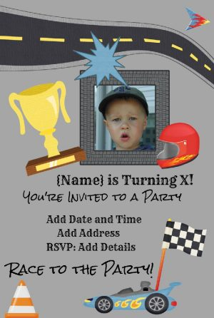 Racing car invitation