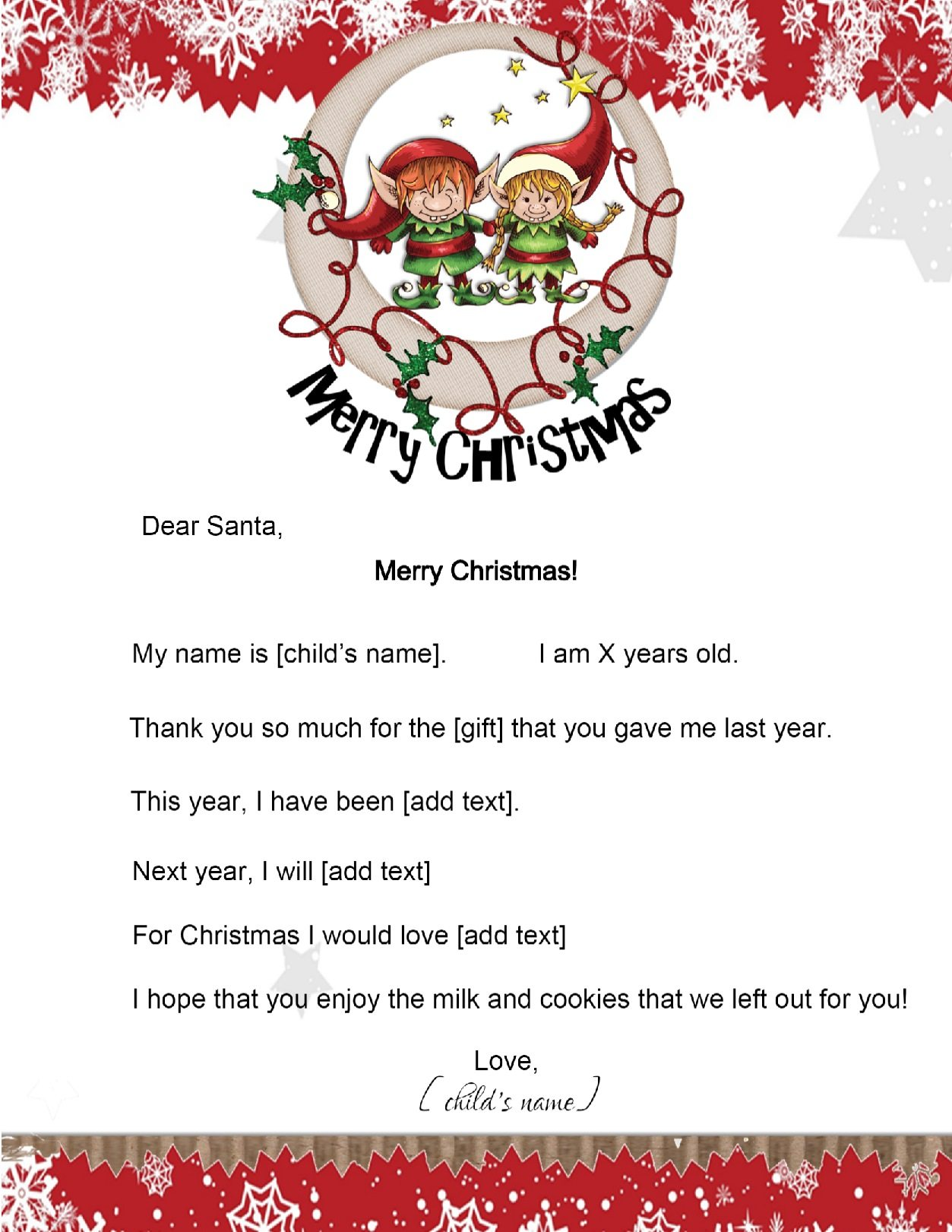 christmas letter from santa free letter to santa 44349
