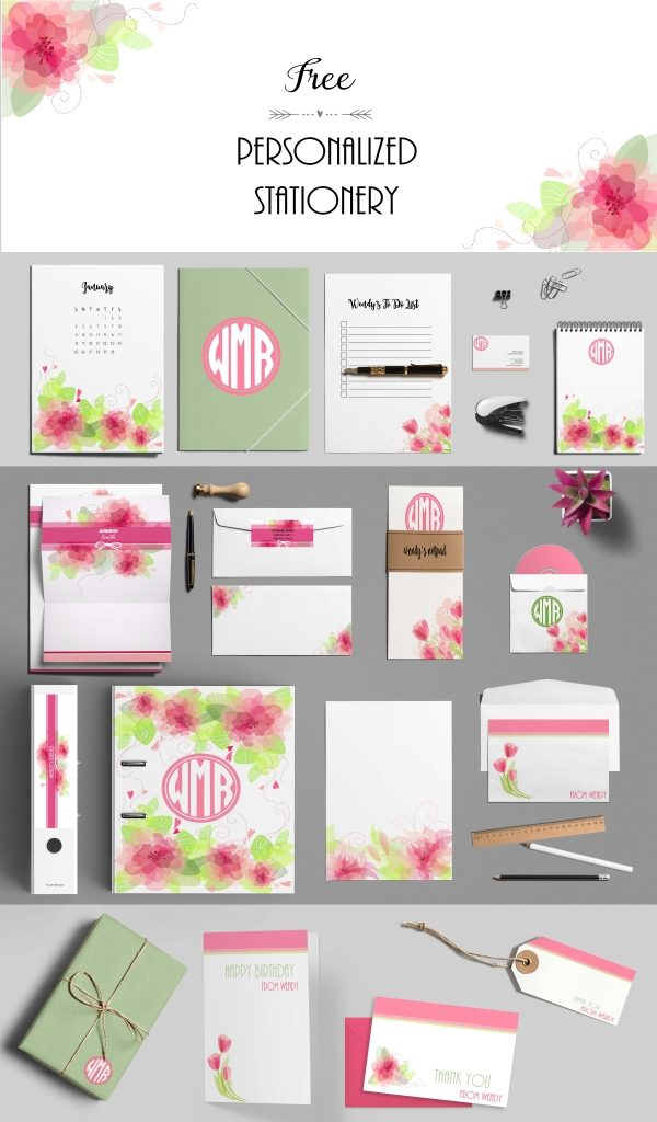 free custom pink stationery set